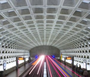 Metro station white architecture with light up boards near our hotel at UMD College Park