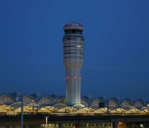 Evening view of airport control tower - The Hotel UMD